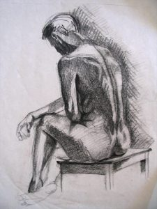Life Drawing - Male Study, Charcoal, 2ft x 3ft, circa 2003, [Photograph]